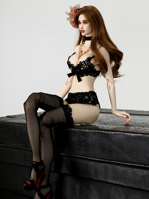 Black Embroidered Lingerie Set_359478_01